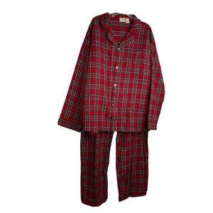 LL BEAN Red Plaid Cotton Flannel Pajamas 2 pc XL
